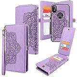 CMIDUS [10 Card Slots] Detachable Magnetic PU Leather Flip Wallet Case with Wrist Strap Kickstand Removable Cover for T-Mobile Revvl 4(Not Fit for Revvl 4 Plus) (Floral Light Purple)
