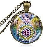 CAISHENY Om Budista Flor de la Vida Colgante Collar Redondo cabujón de Cristal cúpula Yoga meditación Collares Hombre Mujer joyería