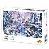 ZEZKT Puzzle 1000 Piezas Adolescente Adulto Puzzles de Paisaje 380×260mm Divertido Regalo de cumpleaños Rompecabezas de Crepúsculo Lobo de Nieve