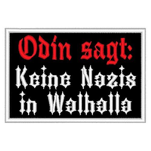 """Spruchaufnäher """"Odin sagt: Keine Nazis in Walhalla"""" - Ein rechteckiger Patch mit ca. 10x6cm"""