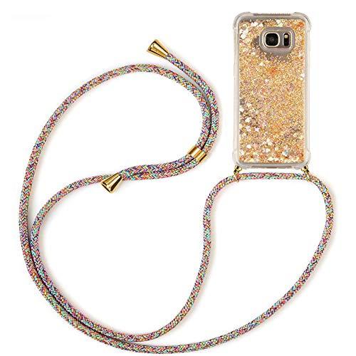 Mkej Flüssig Treibsand Handykette Kompatibel mit Samsung Galaxy S7 Edge Glitzer Handyhülle, TPU Silikon Clear Back Cover mit Glitter Flüssigkeit Smartphone Necklace Schutzhülle - Regenbogenfarbe