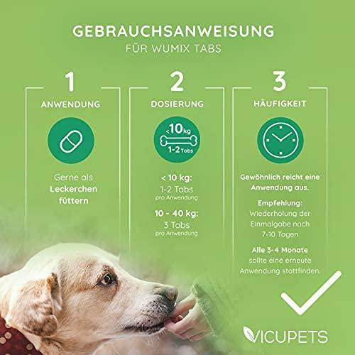 Vicupets Wumix Tabs für Hunde   Liefert Saponine, Bitterstoffe, Gerbstoffe und Ballaststoffe zur Unterstützung des Magen Darm Millieus  100% Natürliche Inhaltsstoffe   140 Stück