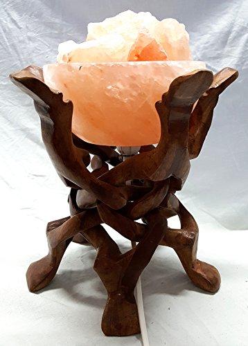 Artigianato Lampada di Sale Salgemma dell'Himalaya BRACIERE di Fuoco con Certificato di Garanzia