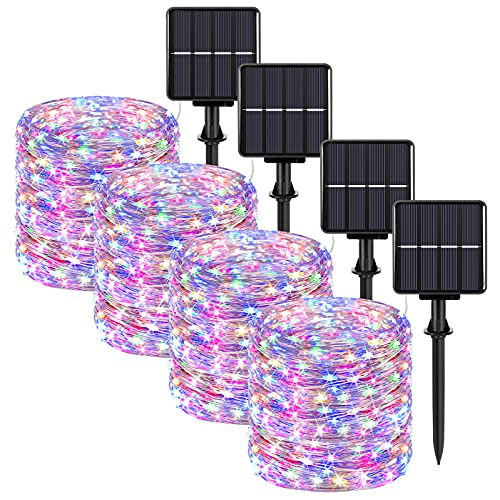Extra-Long 288FT Solar Fairy String Lights, 4-Pack Each 72FT 200 LED Outdoor Twinkle Lights Waterproof, 8 Lighting Modes, Multicolor Silver Wire Lights for Deck Backyard Tree Garden Fence Pool Party