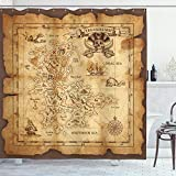Ambesonne Island Map Shower Curtain, Super Detailed Treasure Map Grungy Rustic Pirates Gold Secret Sea History Theme, Cloth Fabric Bathroom Decor Set with Hooks, 70' Long, Beige Brown