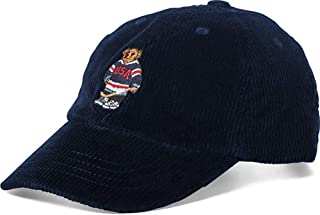 Ralph Lauren Polo Boy's Corduroy Hockey Ski Bear Baseball Cap Hat Navy Blue