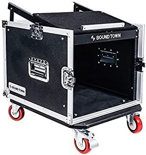Sound Town 8U PA DJ Pro Audio Rack/Road ATA Case with 13U Slant Mixer Top, 23.5'' Rackable Depth and Casters, 8 Space Size (STMR-8UW)