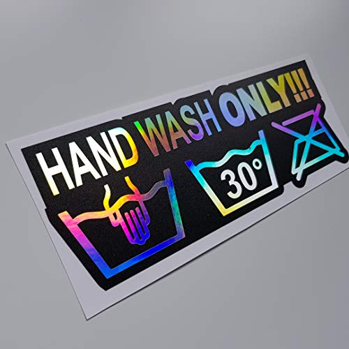 folien-zentrum Hand Wash only Hologramm Oilslick Rainbow Flip Flop schwarz Aufkleber Metallic Effekt Shocker Hand Auto JDM Tuning OEM Dub Decal Stickerbomb Bombing Sticker Illest Dapper Fun Oldschool