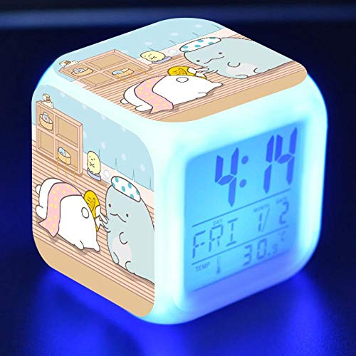 Kawaii Sumikkogurashi Anime Figure LED Alarm Clock Colorful Flash Touch Desk Light Flash Toys for Kids N35