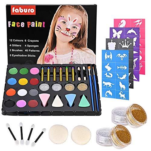 Faburo 38 Pz Colori Trucco Viso, Bambini Trucco Set Makeup per Bambini Face Painting Body Kit 12 Colori Kit Trucco Viso Truccabimbi Kit per Halloween, Natale, Pasqua