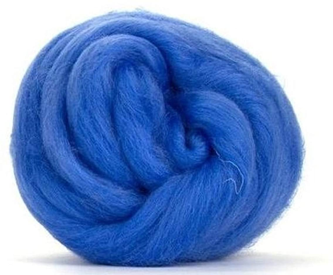 4 oz Paradise Fibers 64 Count Dyed Cornflower (Blue) Merino Top Spinning Fiber Luxuriously Soft Wool Top Roving for Spinning with Spindle or Wheel, Felting, Blending and Weaving