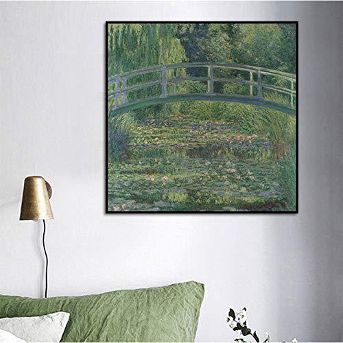 YHZSML Berühmte Ölgemälde Claude Monet Abstrakte Natur Landschaft Kunst Leinwand Malerei Wandbilder für Wohnzimmer Bilder Wohnkultur Eine 60X60 cm