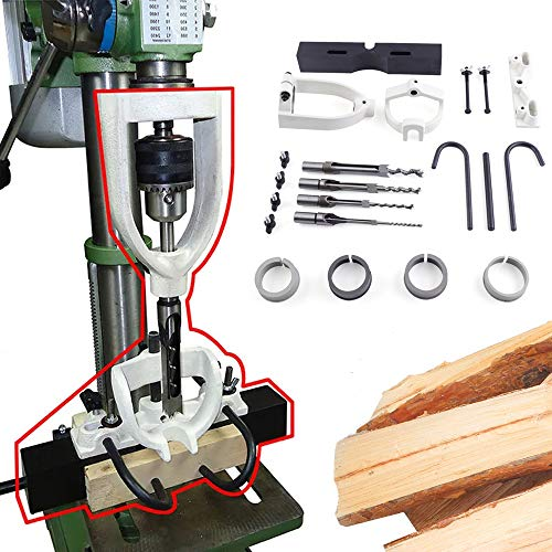 RanBB Bench Drill Locator Set for Mortising Chisels Tenoning Machine with 4 Bits Steel