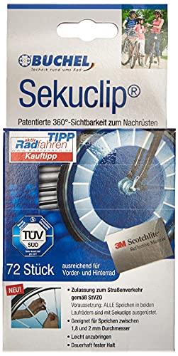 B�chel Unisex Erwachsene 72er Verpackung Speichenreflektoren Seku Clips StVZO zugelassen 3M Scotchlite Material 360 Grad Sichtbarkeit, silber, 72 St ck EU
