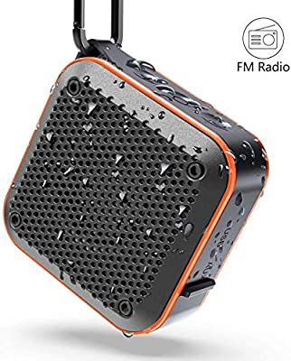 Waterproof Bluetooth Speaker, Shower IPX7 Waterproof Wireless Outdoor Mini Bluetooth Speakers, Bluetooth 5.0, AUX-in TF Card, 12 Hours Playtime, built in mic and 360¡ã TWS Stereo Sound (525-Orang) from KIYEDAM