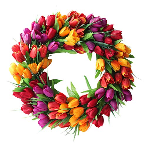 Ewer 20 Inches Tulip Wreath, Artificial Flower Handmade Floral Wreath for 2021 New Spring, Simulation Round Spring Garland Wreath for Front Door Wedding Wall Home Decor