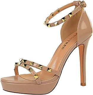 GLJJQMY High Heels Wedding Party Shoes Fashion Banquet Women's Shoes Fashion Pointed Ankle Straps Rivets Court Shoes 11.5 cm Women's Sandals (Color : Purple, Size : 40)