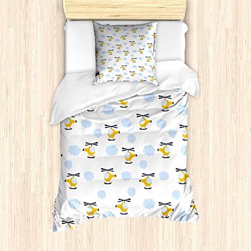 ABAKUHAUS Kinderkamer Dekbedovertrekset, Vliegtuigen in Wolken, Decoratieve 2-delige Bedset met 1 siersloop, 135 cm x 200 cm, Yellow and Blue