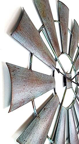 GANG 30 '' Hierro Arte Circular Molino de Viento Modelado Retro Reloj de Pared Hacer la Antigua Decoración de Superficie Creatividad Sala de Estar Reloj Reloj Silencioso Cuarzo para Bar Cafet
