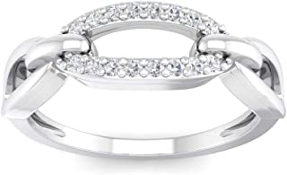 Perrian 18K White Gold 0.1 Carat (SI2 Clarity, GH Color) Round Diamond Ring for Women
