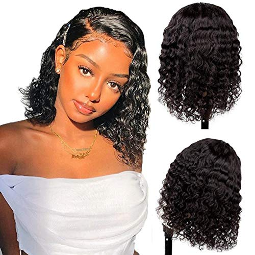 Bob Lace 4x4 Closure Wigs for Black Women Deep Wave 10 Inch 150% Density Short Bob Wig Lace Front Wigs Human Hair pre plucked with Baby Hair Natural Color