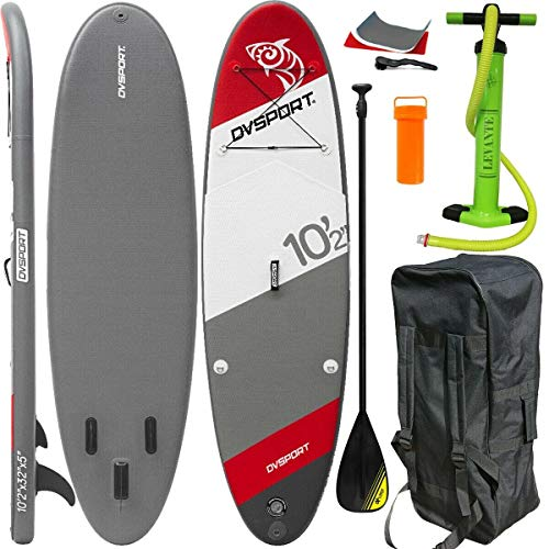 DVSport 22330 Sup, Rot/Blau/Weiß, 310 x 86 x 12 cm Inflatable Isup aufblasbar Alu-Paddel Stand Up Paddle Board Set Pumpe Surfboard Aqua Paddelset