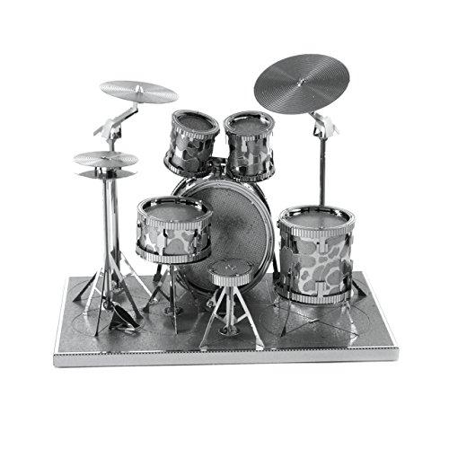 Fascinations MMS076 - Metal Earth 502736 - Drum Set, lasergeschnittener 3D-Konstruktionsbausatz, 2 Metallplatinen, ab 14 Jahren