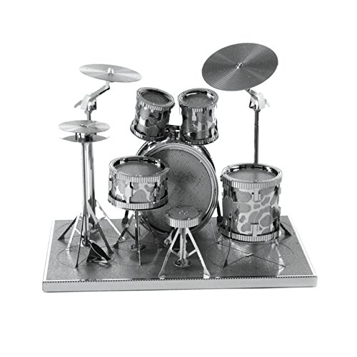 Fascinations Metal Earth MMS076 - 502736, Drum Set, Konstruktionsspielzeug, 2 Metallplatinen, ab 14 Jahren