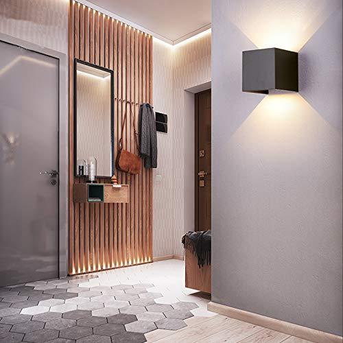 Yosoan LED-Wandleuchte Up&Down Wandleuchte Außenwandleuchte inkl. 20W warmweiß Lichtstrahl Leuchtmittel Außenleuchte Außenlampe Wandlampe für Innen und Außen schwarz IP65 (3000K Schwarz)