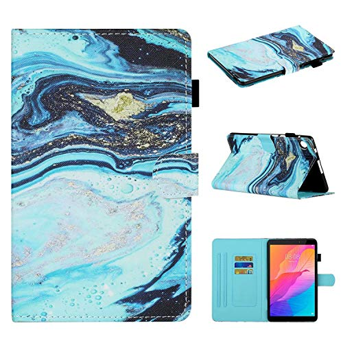 Miagon für Huawei MatePad T8 8.0 Zoll Hülle,Schlank Fit PU Leder Folio Stand Brieftasche Cover Cute Muster Stoßfest Shell,Blau Marmor