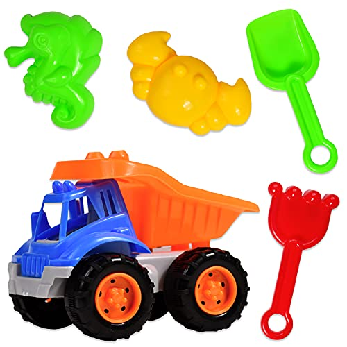 Sandspielzeug mit Bagger 5 tlg. im Set | Sandkasten Spielzeug inkl. Sandformen Schaufel Rechen uvm. | Sandspiel-Set Sand-Spielsachen für Kinder Junge & Mädchen | ideal für Sandkasten & Sand-Burg