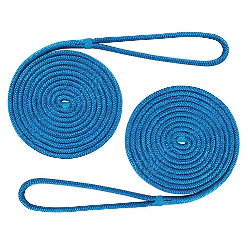 Amarine Made (2-Pack,1/2 Inch,15 FT Double Braid Nylon Dockline Mooring Rope Double Braided Dock Line,Marine Ropes for Boats (Blue)