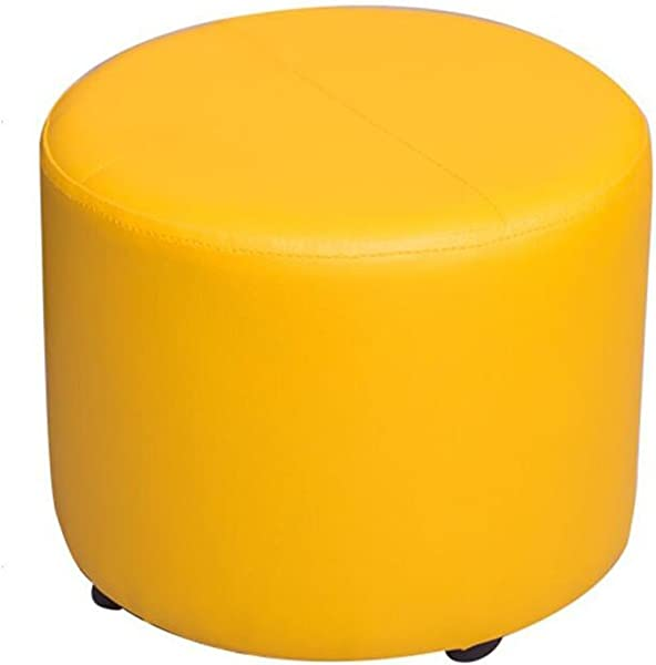 WZ Ottomans PU Upholstered Footstool Small Ottoman Luxury Round Pouffe 4 Legs Change Shoe Stool Five Colour Color Yellow