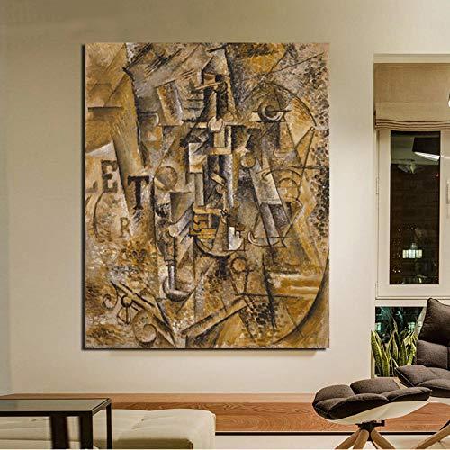 nobrand stilleven met een fles rum canvas schilderij woonkamer huis decoratie moderne muurkunst olieverfschilderij poster 40x50cm geen lijst