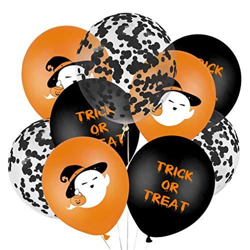 NUOBESTY 20 Piezas de Globos de Halloween Fantasma Truco O Trato Globos de Látex Globos de Confeti de 12 Pulgadas Globos de Dibujos Animados para Suministros de Fiesta Familiar Amigos