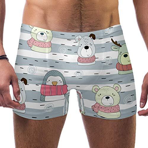 TIZORAX heren zwembroek korte sjaal pinguïn hond en beer vierkante been badpak ondergoed Jammer kort