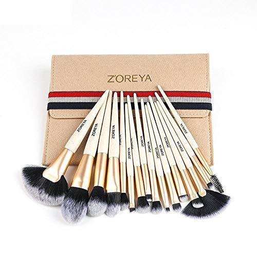 Pinceaux Maquillages Professionnels Kit de 8pcs, Poils Synthétiques Vegan, Soyeux et Denses,(Poudres, Crèmes, Liquides) Costume de 15 pièces, blanc