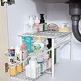 canasta organizadora de almacenamiento de cocina, cajón organizador debajo del fregadero con cajón deslizante para cocina y baño, organizador de gabinete con canasta extraíble, acero al carbono blan