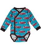 Maxomorra Baby Jungen Body Langarm Blau Auto Retro Wickelbody Biobaumwolle GOTS - Größe: 50