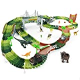 Fajiabao DinosaureCircuitVoiture Electrique Jouet - 216 Pièces Jeux PisteCircuitFlexibleLumineux Voiture Jeu Creation pour Cadeau Enfant 3 4 5 6 Ans Garcon Fille