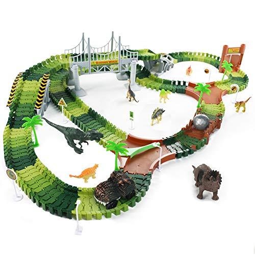 Fajiabao Dinosauri PistaMacchinine - GiochiPistaMacchine 216 Pezzi PistaElettricaMacchinine Luminosa per Bambini Ragazza Ragazzo 3 4 5 6 Anni