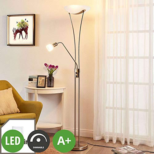 Lampenwelt LED Stehlampe | Deckenfluter inkl. dimmbarer LED Leuchtmittel A+ | Standleuchte Messing matt/Gold | Stehleuchte Wohnzimmer| warmweiß (3.000K) | Leselampe