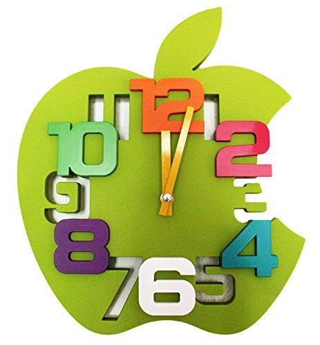 3D Design Wanduhr Küchenuhr Baduhr Bürouhr Wanddeko Kinderzimmer Apfel (Grün)