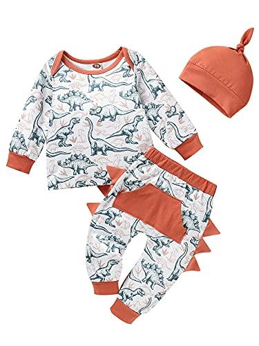3Pcs Kids Baby Girls Boys Suit Set Toddler Cartoon Animal Print Long Sleeve Tops Long Pants Hat (Reddish Orange, 0-3 Months)