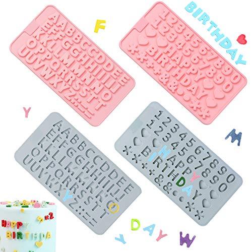 PUDSIRN - Stampi in silicone con numero di lettere dell'alfabeto, per decorare torte, caramelle, cioccolato, biscotti, 4 pezzi