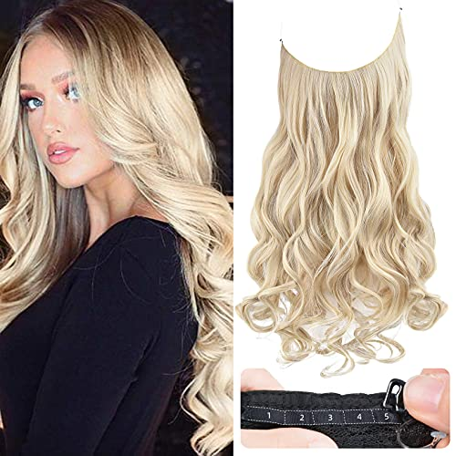 REECHO Halo Hair Extensions with Invisible Transparent Wire Adjustable Size Removable Secure Clips in Curly Wavy Hidden Crown Secret Hairpiece for Women 14 Inch - Cool Light Blonde