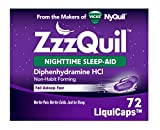 ZzzQuil Nighttime Sleep Aid, Non-Habit Forming, Fall Asleep Fast and Wake Refreshed, 72 Count LiquiCaps