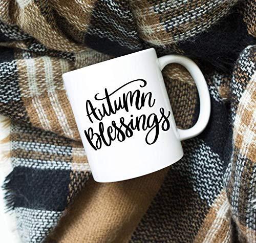 Bru565und - Taza de otoño con texto en inglés «Autumn Blessings», taza de otoño, taza de Acción de Gracias, regalo de amistad, taza, regalo, regalo de anfitriona, taza de café, calabaza especia, regalo de cumpleaños de Navidad