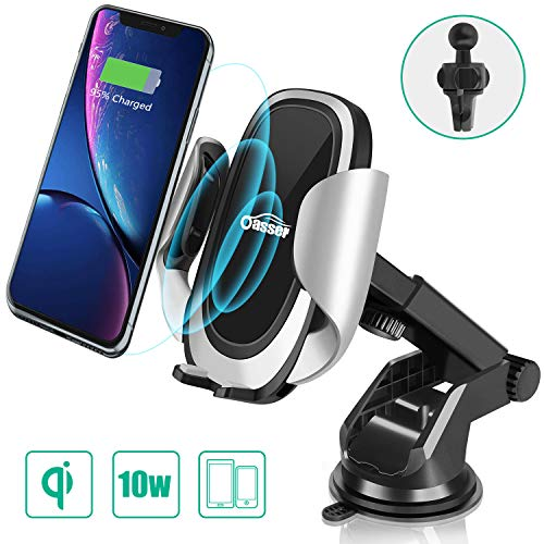 Oasser Caricatore Wireless Auto Caricabatterie Ricarica Rapida 10W Adatto Supporto per Samsung Galaxy, iPhone X/8/8 plus, LG V30 Plus/G6 Plus e Tutti i Dispositivi Dotati di Ricarica Wireless