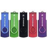 SIMMAX Chiavetta USB 5 pezzi 16GB Girevole Pendrive USB 2.0 Unità Memoria Flash (16GB Blu...
